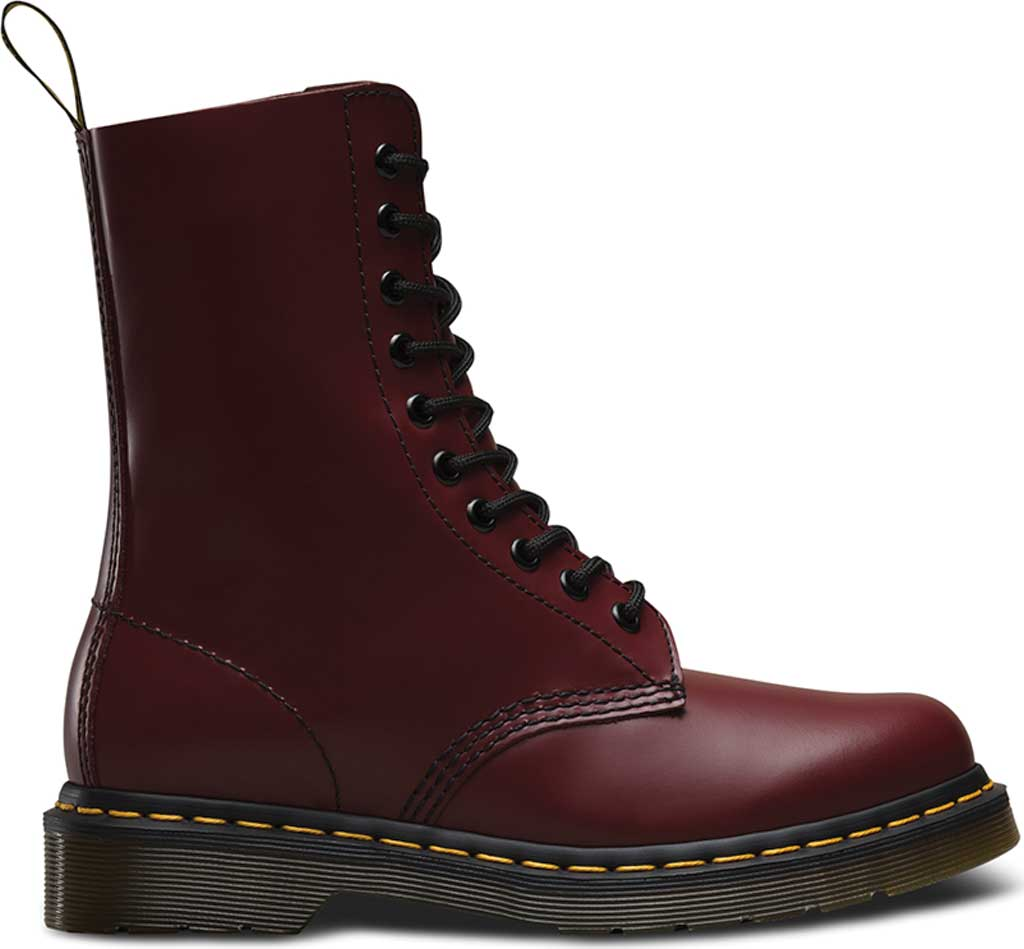 Dr. Martens 1490 10-Eyelet Boot, Cherry Red Smooth Leather, large, image 2