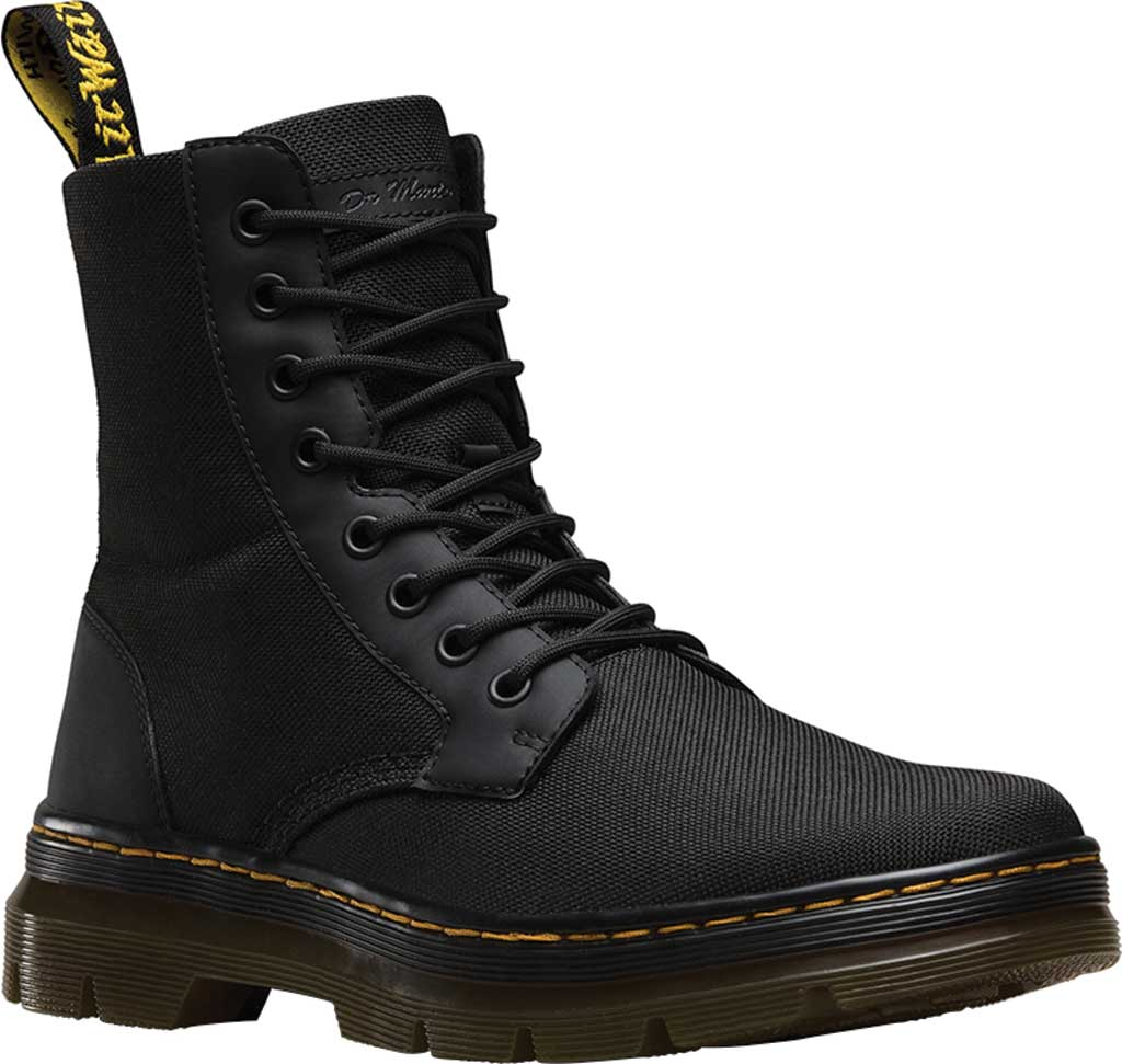 Dr. Martens Combs 8-Eye Boot, Black Extra Tough Nylon/Rubbery, large, image 1