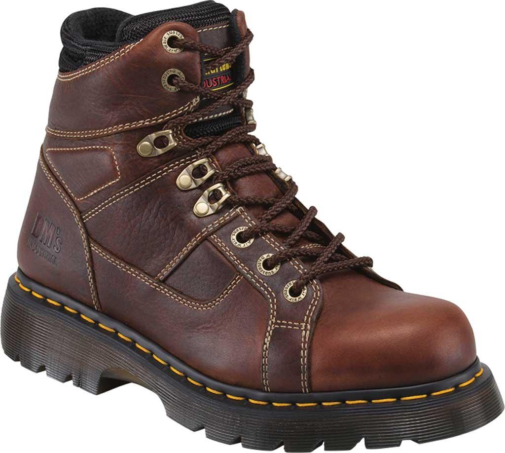 Dr. Martens Work Ironbridge Tec-Tuff Safety Toe 8 Tie Boot, Teak Industrial Trailblazer Tumbled Leather, large, image 1