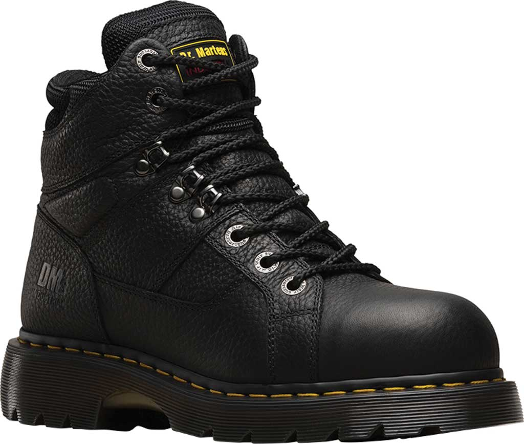 Dr. Martens Work Ironbridge Tec-Tuff Safety Toe 8 Tie Boot, Black Industrial Grizzly Full Grain (Steel Toe), large, image 1