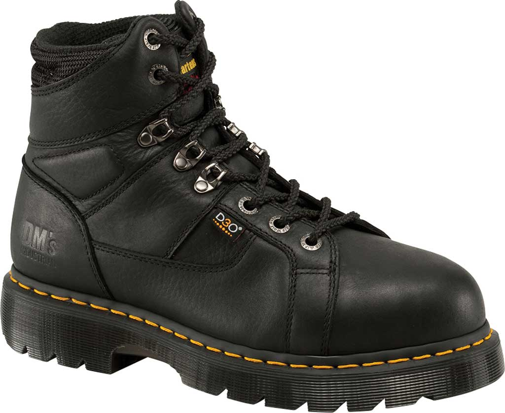 Dr. Martens Work Ironbridge Tec-Tuff Safety Toe 8 Tie Boot, Black Industrial Grizzly Leather (Internal MG/ST), large, image 1
