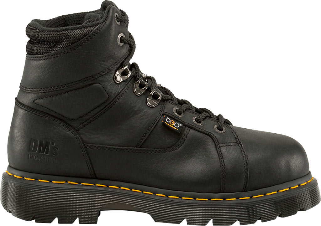 Dr. Martens Work Ironbridge Tec-Tuff Safety Toe 8 Tie Boot, Black Industrial Grizzly Leather (Internal MG/ST), large, image 2