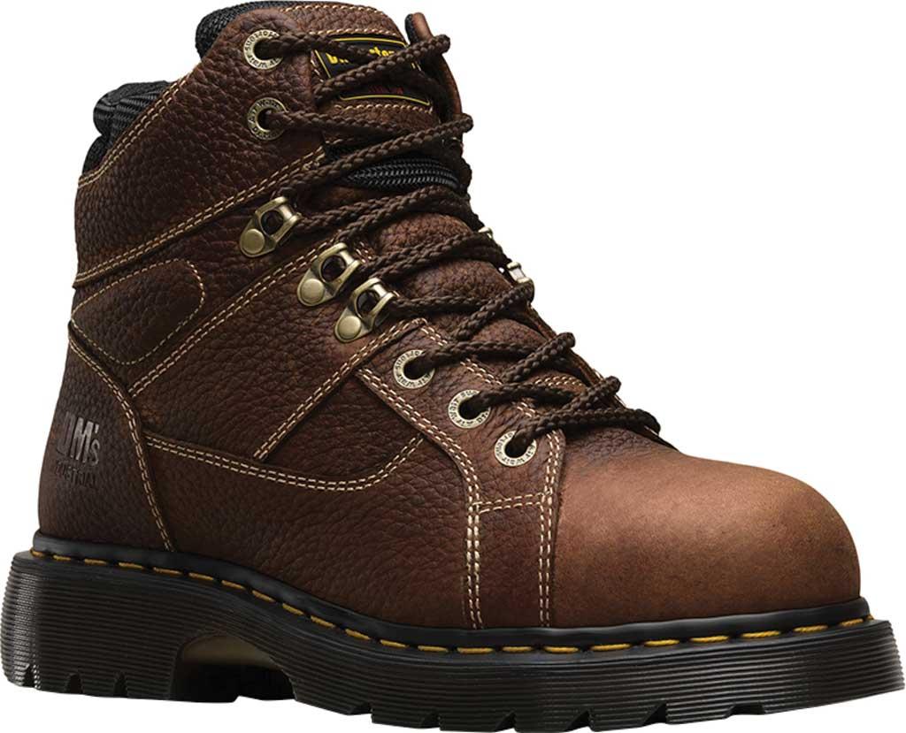 Dr. Martens Work Ironbridge Tec-Tuff Safety Toe 8 Tie Boot, Teak Industrial Trailblazer Tumbled (Steel Toe), large, image 1