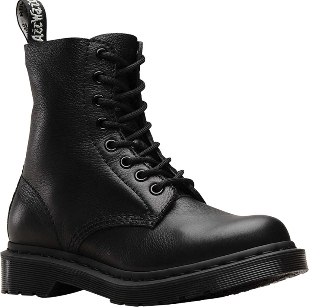 Women's Dr. Martens Pascal 8-Eye Zip Boot, Black Virginia Leather, large, image 1