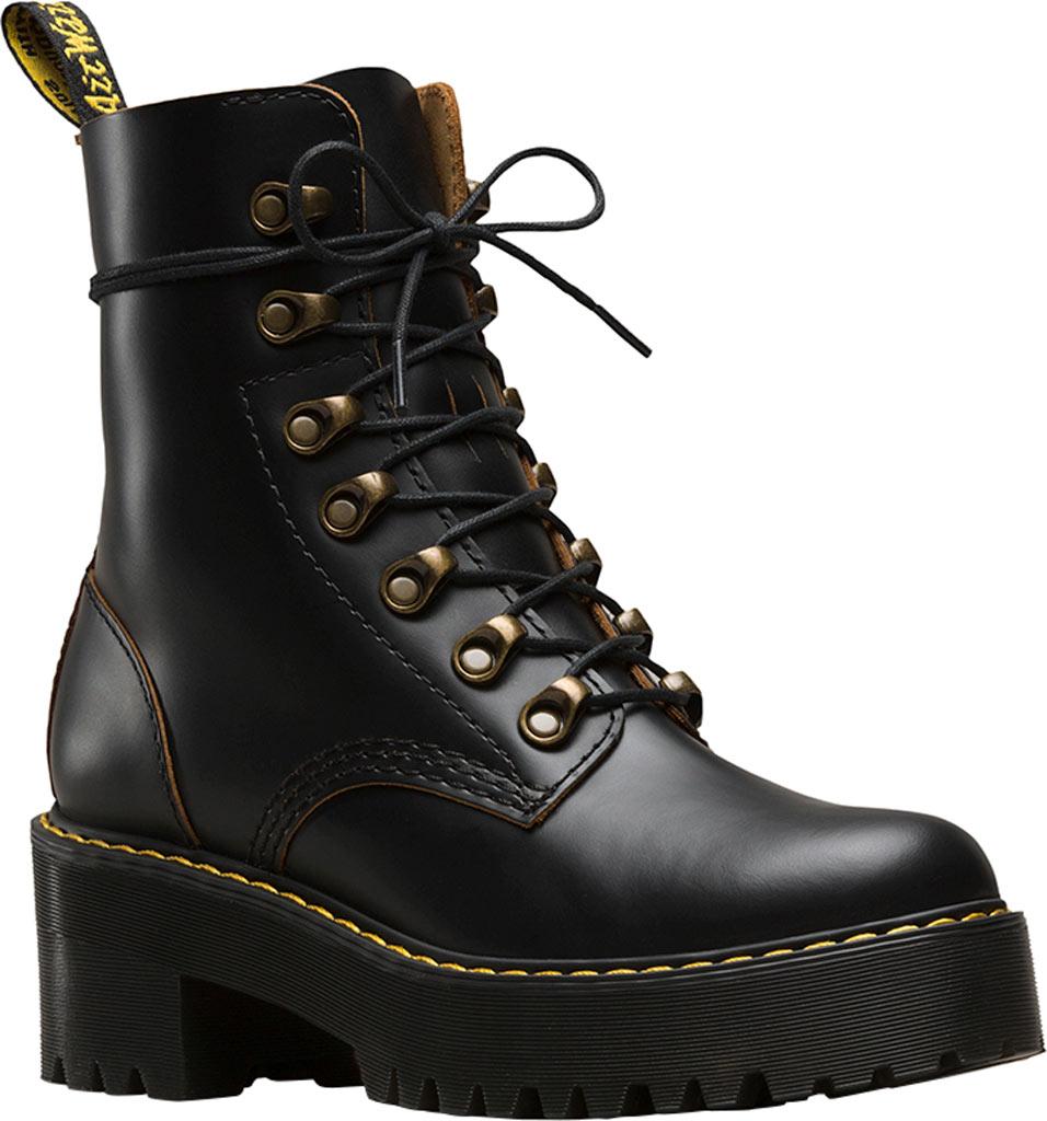 Women's Dr. Martens Leona 7-Eye Hiker Boot, Black Vintage Smooth Leather, large, image 1
