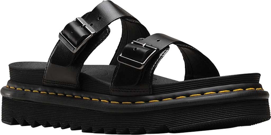 Dr. Martens Myles Slide, Black Brando Full Grain Waxy Leather, large, image 1