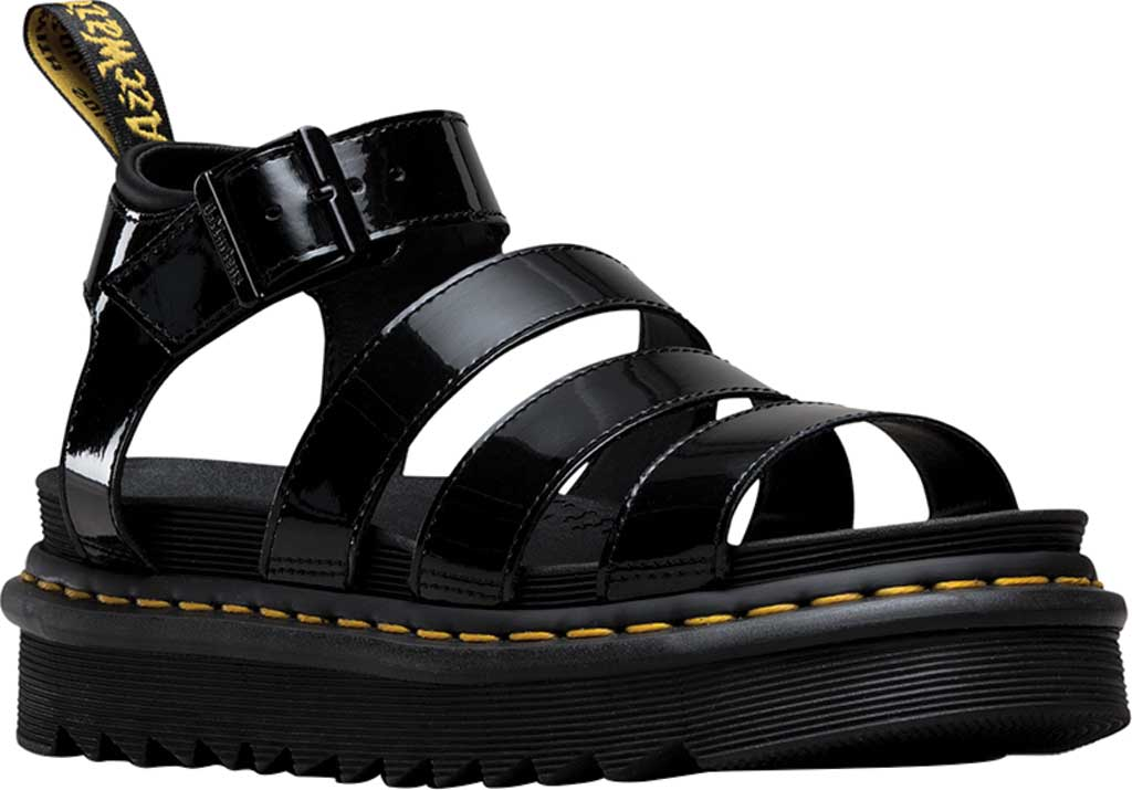 Women's Dr. Martens Blaire Strappy Sandal, Black Patent Lamper Leather, large, image 1