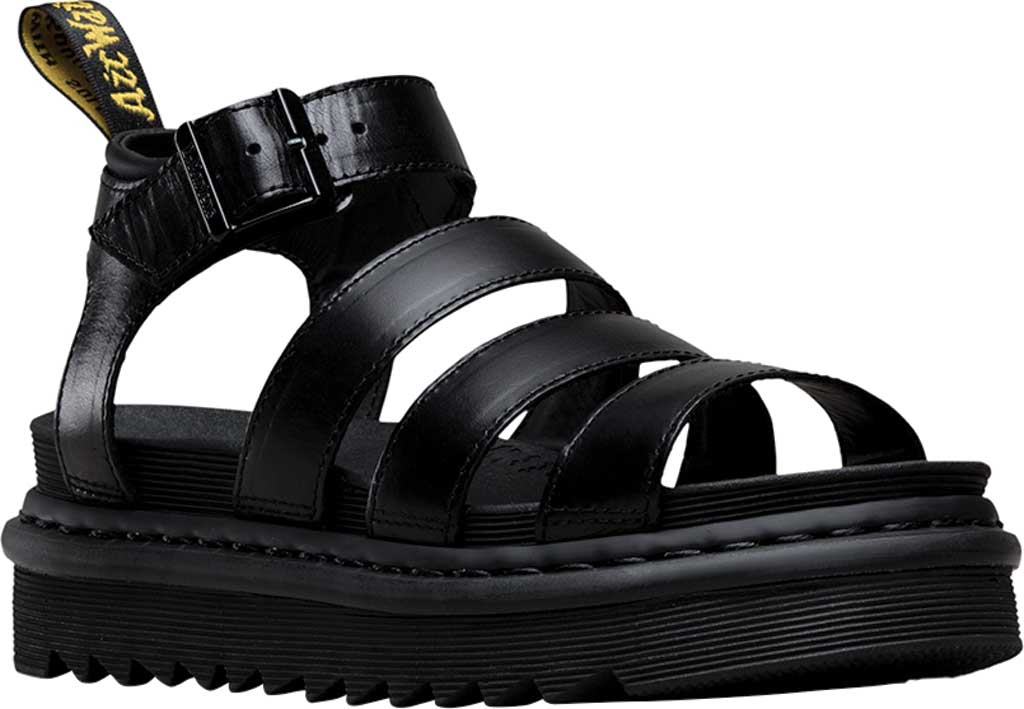 Women's Dr. Martens Blaire Strappy Sandal, Black Brando Full Grain Waxy Leather, large, image 1