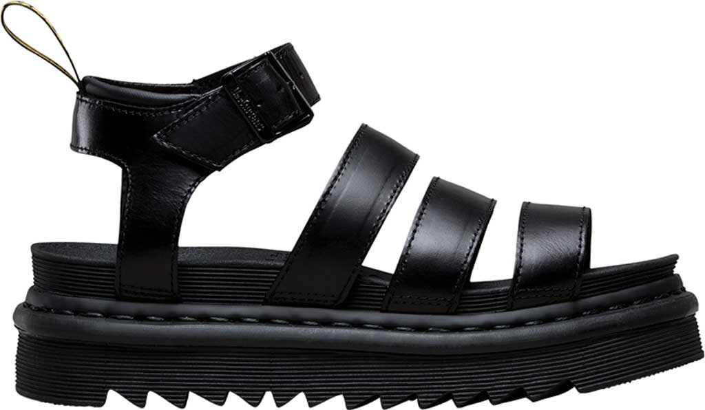 Women's Dr. Martens Blaire Strappy Sandal, Black Brando Full Grain Waxy Leather, large, image 2