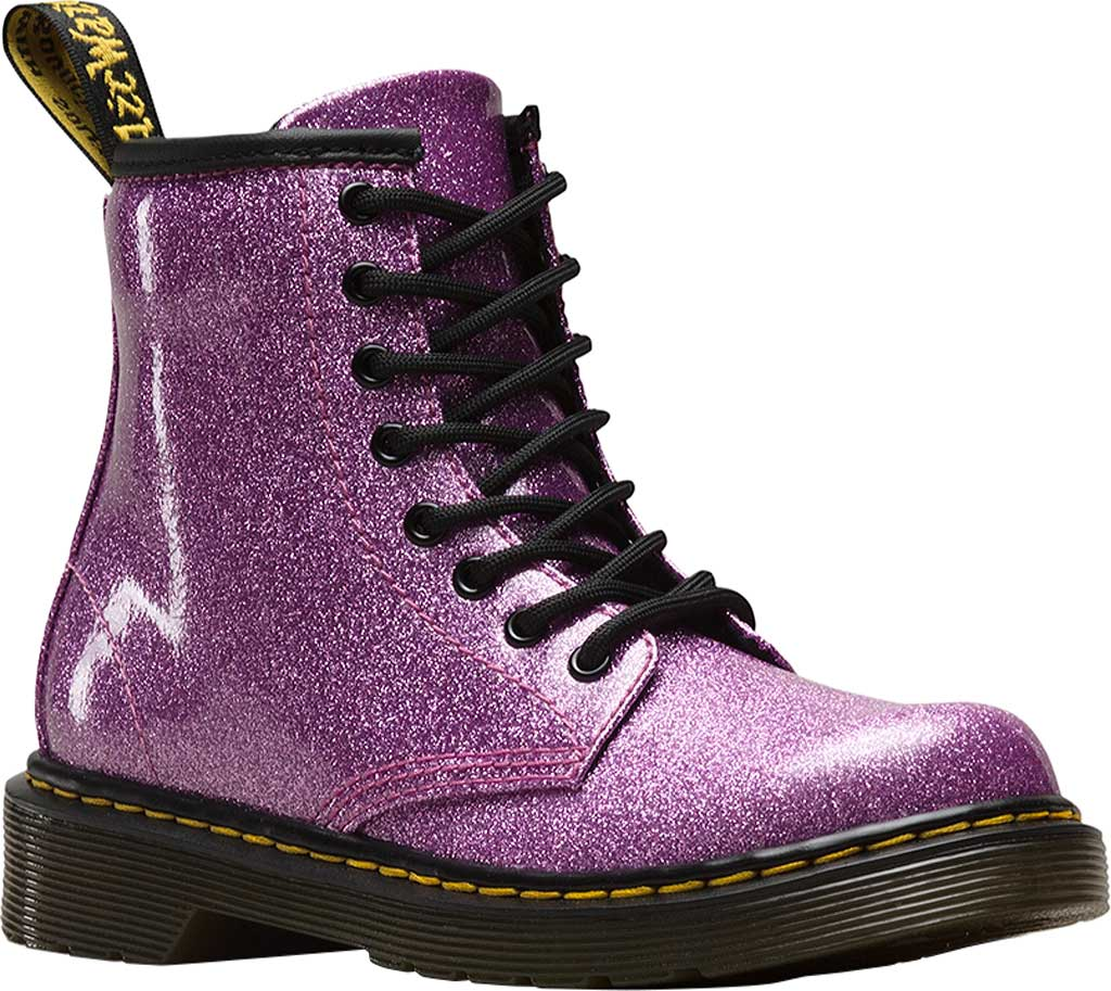 Girls' Dr. Martens 1460 Glitter Boot Junior, Dark Pink Coated Glitter, large, image 1