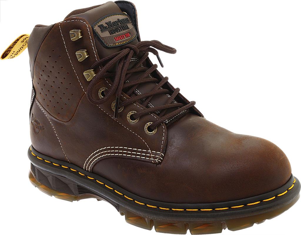 Men's Dr. Martens Work Britton Steel Toe 7-Tie Gibson-Cut Boot, Dark Brown Republic Oily Leather/Tough Nylon, large, image 1