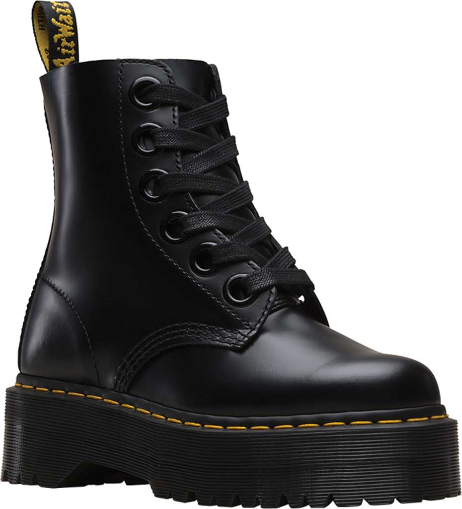 Women's Dr. Martens Molly 6-Eye Boot, Black Buttero Satin Gloss Leather, large, image 1