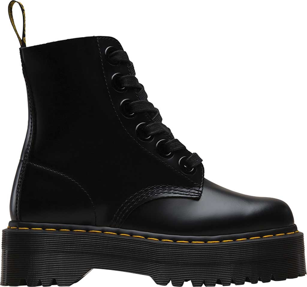 Women's Dr. Martens Molly 6-Eye Boot, Black Buttero Satin Gloss Leather, large, image 2