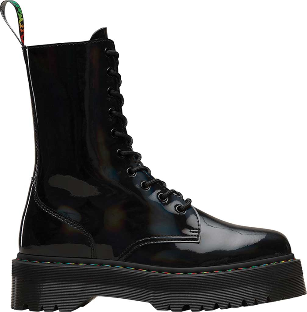 Dr. Martens Jadon Hi Platform Boot, Black Rainbow Patent Leather, large, image 2