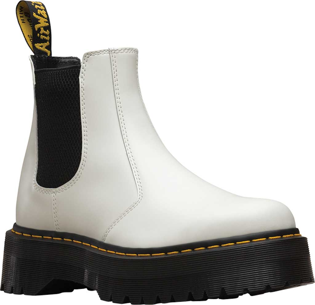 Dr. Martens 2976 Quad Chelsea Boot, White Smooth Polished Smooth Leather, large, image 1