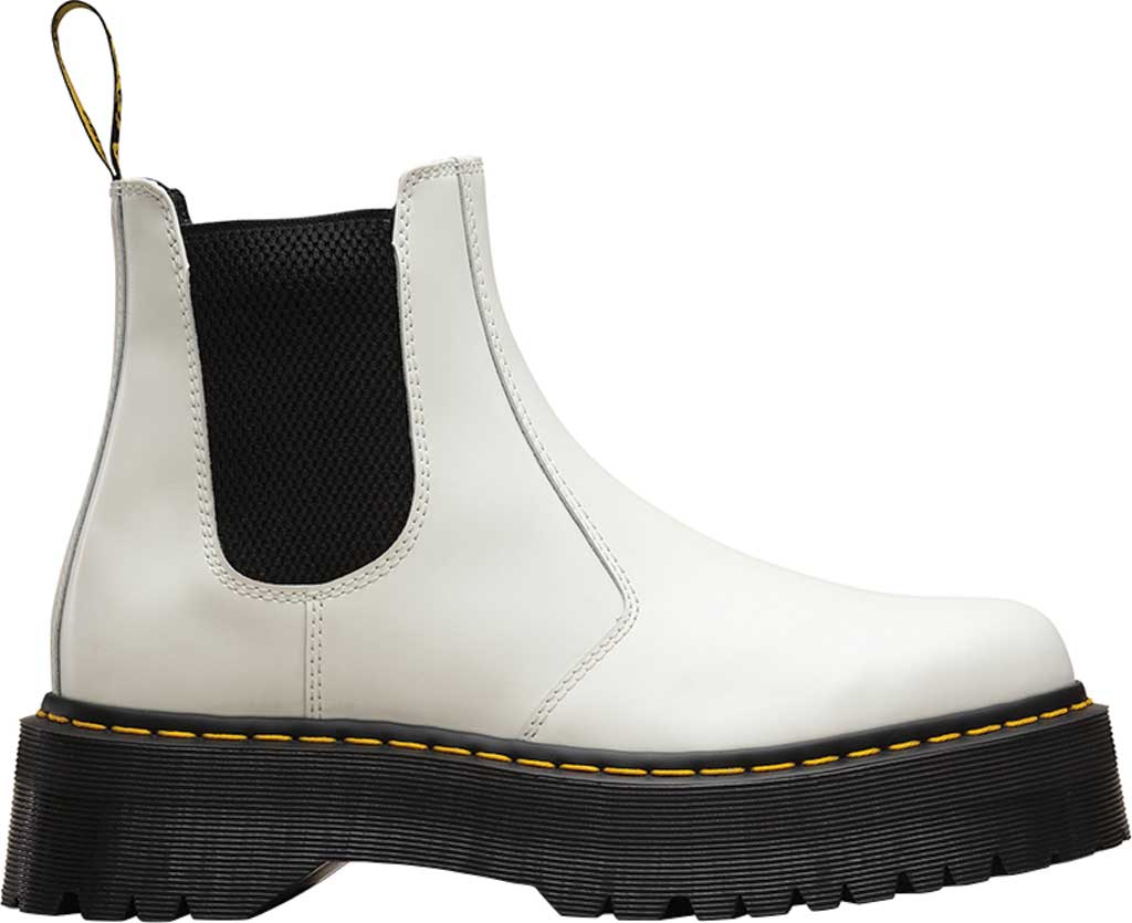 Dr. Martens 2976 Quad Chelsea Boot, White Smooth Polished Smooth Leather, large, image 2