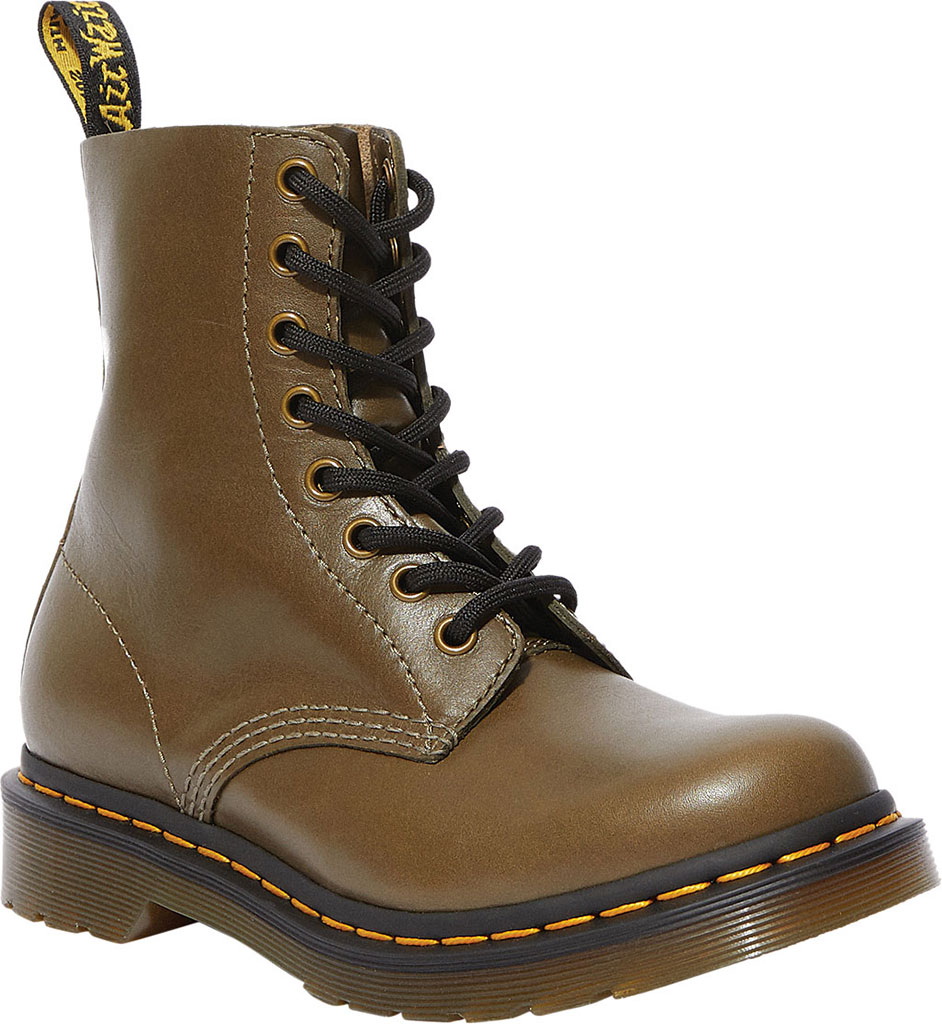 Women's Dr. Martens 1460 Leather 8-Eye Ankle Boot, Olive Wanama Leather, large, image 1
