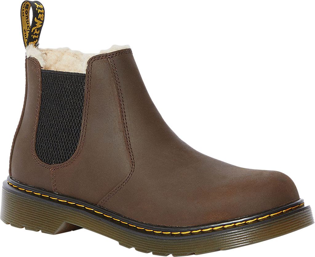 Children's Dr. Martens 2976 Leonore Pull On Boot, Dark Brown Republic Oily Leather, large, image 1