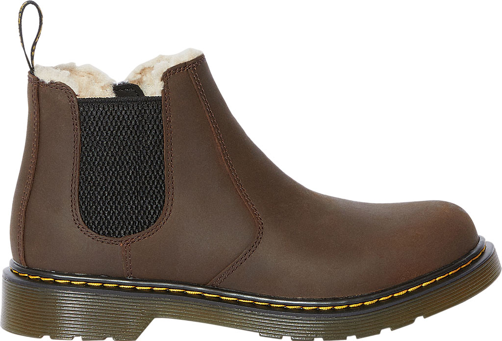Children's Dr. Martens 2976 Leonore Pull On Boot, Dark Brown Republic Oily Leather, large, image 2