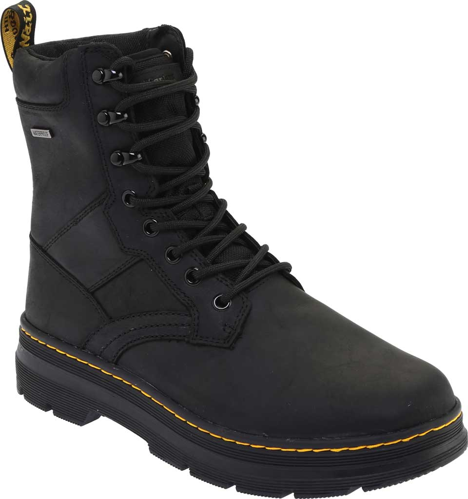 Dr. Martens Iowa 8 Tie Waterproof Boot, Black Republic Oily Leather/Nylon, large, image 1