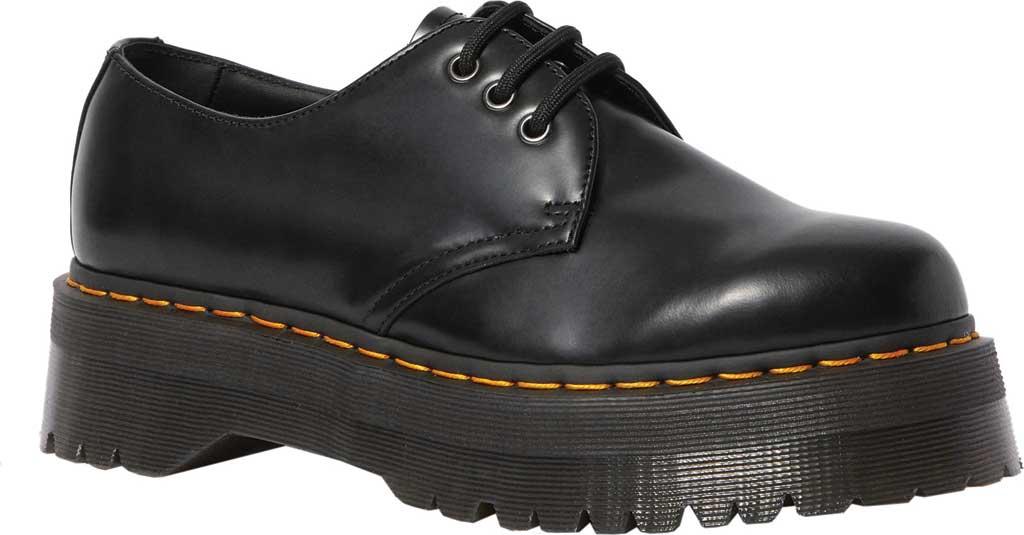 Dr. Martens 1461 Quad Platform Oxford, Black Polished Smooth Leather, large, image 1