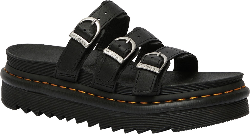 Women's Dr. Martens Blaire Platform Slide, Black Hydro PU Coated Leather, large, image 1