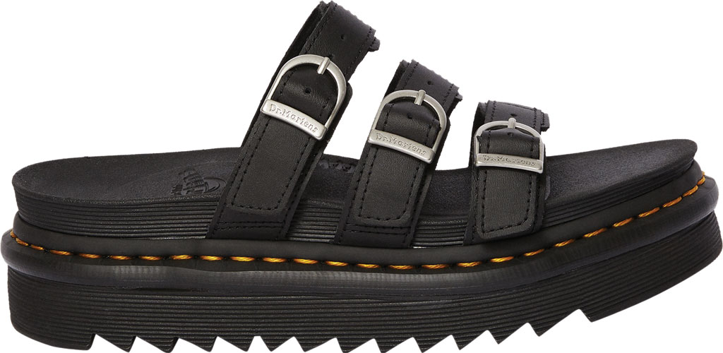 Women's Dr. Martens Blaire Platform Slide, Black Hydro PU Coated Leather, large, image 2