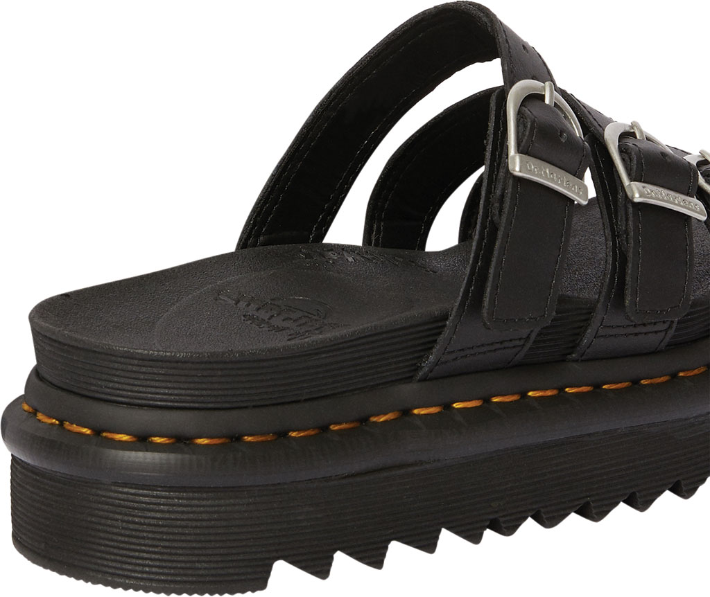 Women's Dr. Martens Blaire Platform Slide, Black Hydro PU Coated Leather, large, image 3
