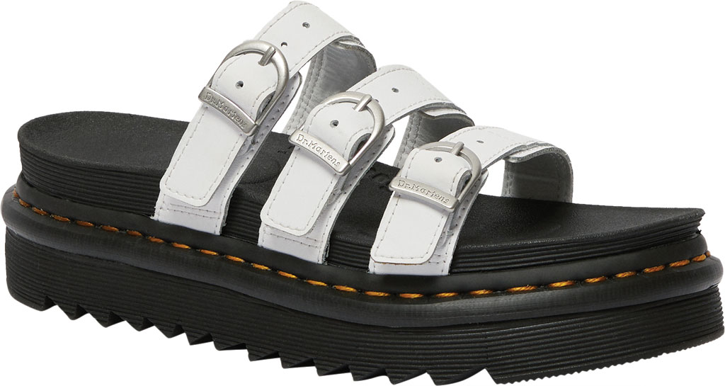 Women's Dr. Martens Blaire Platform Slide, White Hydro PU Coated Leather, large, image 1
