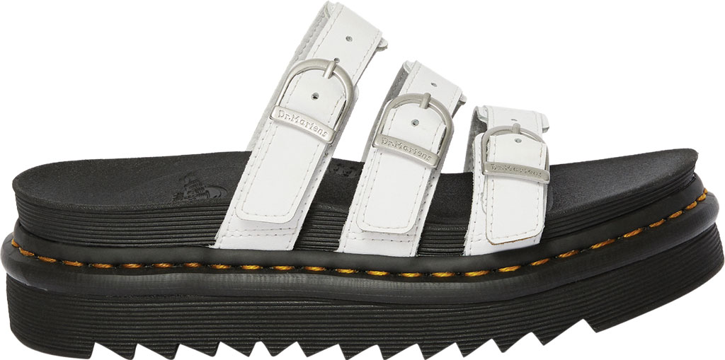 Women's Dr. Martens Blaire Platform Slide, White Hydro PU Coated Leather, large, image 2