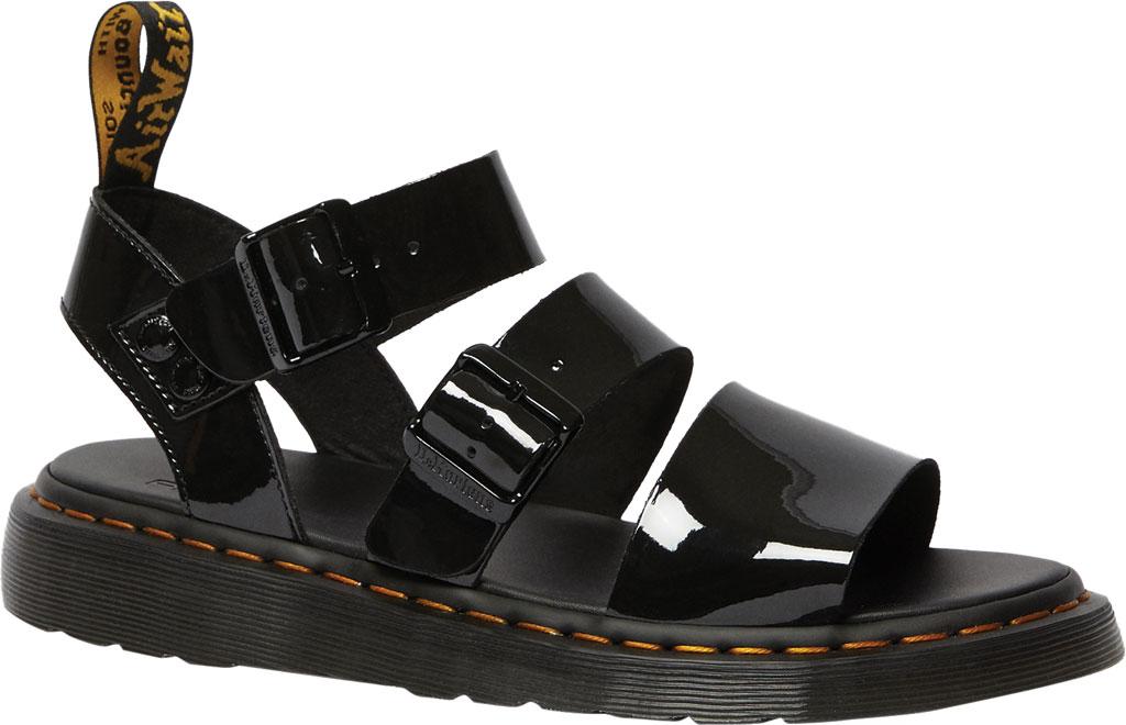 Dr. Martens Gryphon Quarter Strap Sandal, Black Patent Lamper Leather, large, image 1