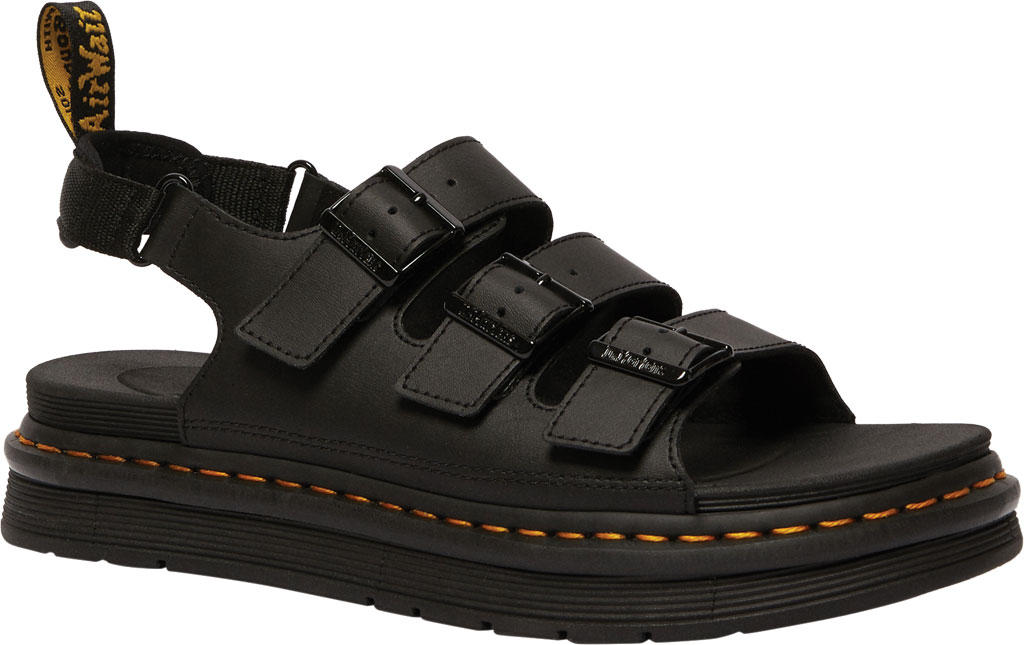Men's Dr. Martens Soloman Walking Sandal, Black Hydro PU Coated Leather, large, image 1