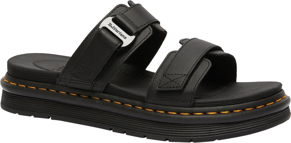 Men's Dr. Martens Chilton Two Strap Slide, Black Hydro PU Coated Leather, large, image 1