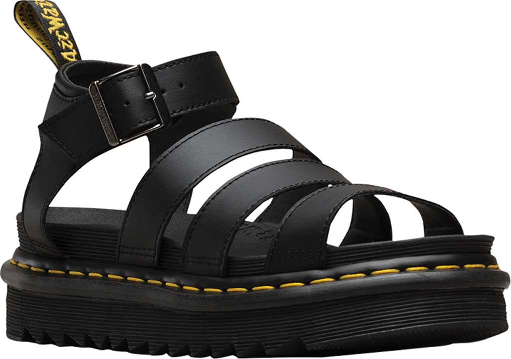 Women's Dr. Martens Blaire Platform Strappy Sandal, Black Hydro PU Coated Leather, large, image 1
