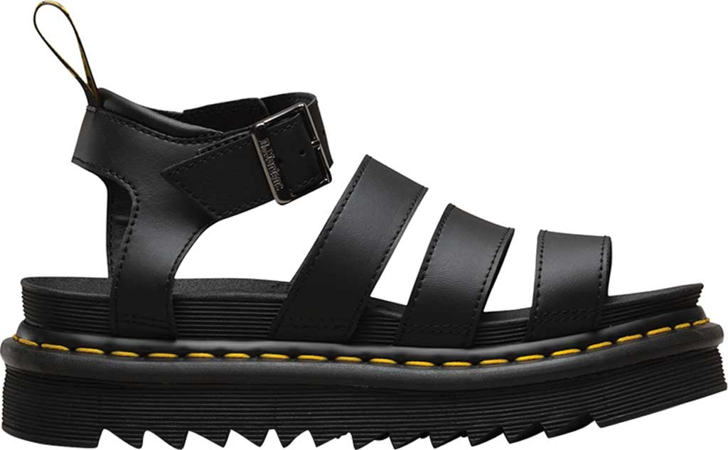 Women's Dr. Martens Blaire Platform Strappy Sandal, Black Hydro PU Coated Leather, large, image 2