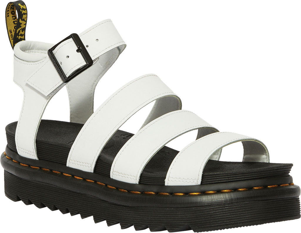 Women's Dr. Martens Blaire Platform Strappy Sandal, White Hydro PU Coated Leather, large, image 1