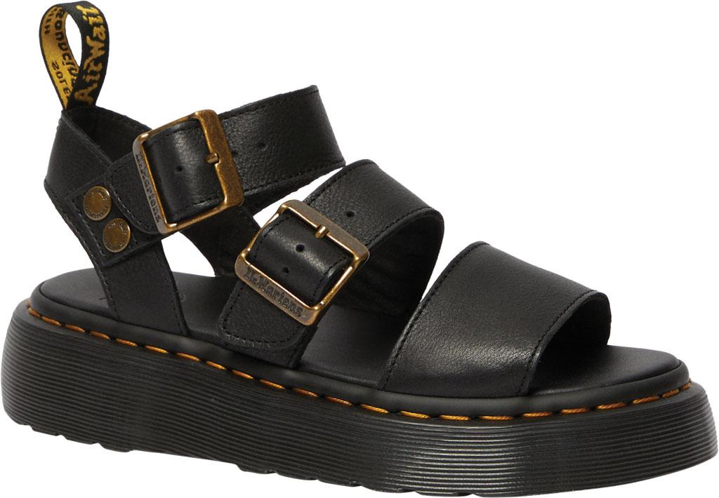 Women's Dr. Martens Gryphon Quad Quarter Strap Sandal, Black Pisa Waxy Nappa Leather, large, image 1