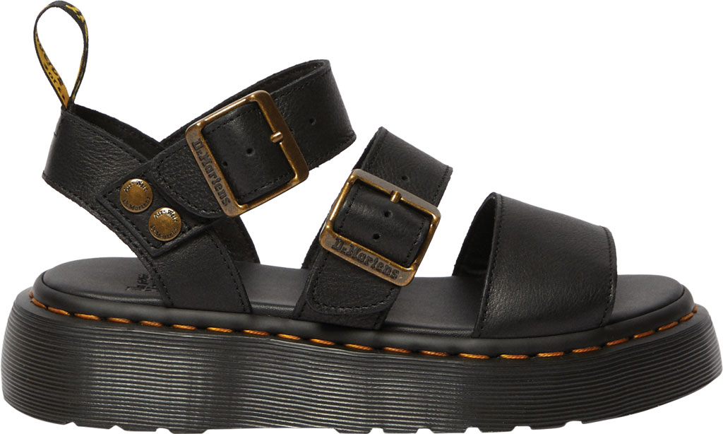 Women's Dr. Martens Gryphon Quad Quarter Strap Sandal, Black Pisa Waxy Nappa Leather, large, image 2