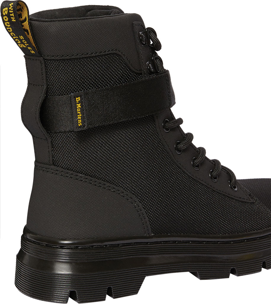 Women's Dr. Martens Combs Tech Strap Mid Calf Boot, Black Nylon/Ajax Embossed/PU Coated Split Leather, large, image 3
