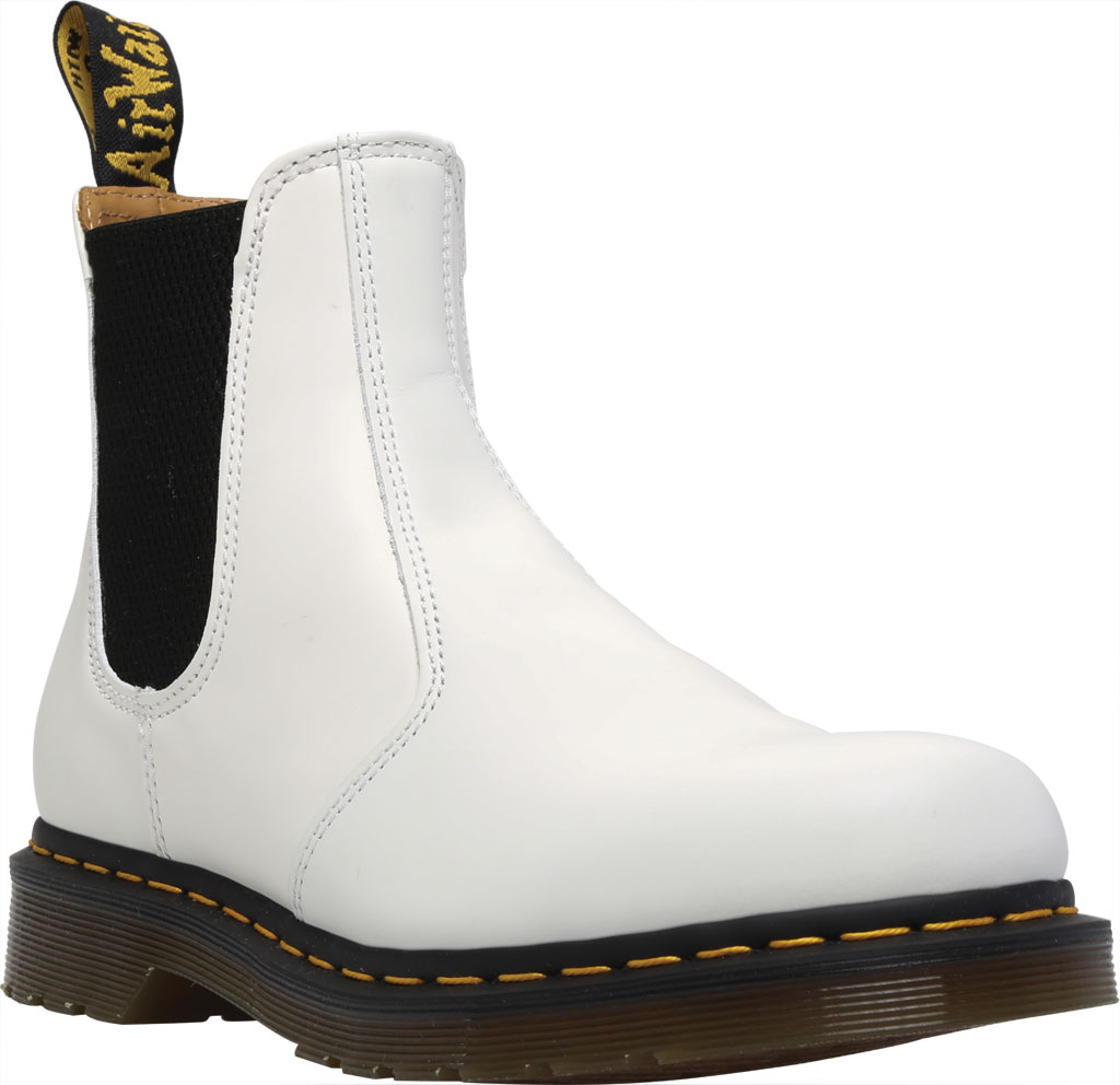 Dr. Martens 2976 Yellow Stitch Chelsea Boot, White Smooth Leather, large, image 1