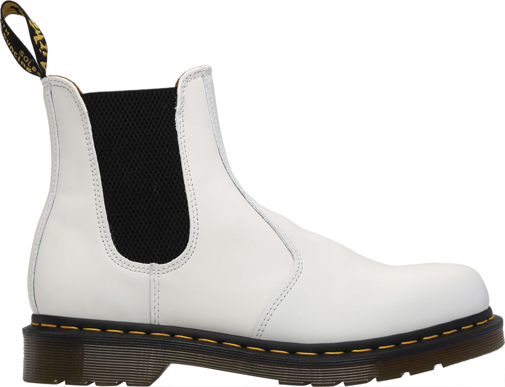 Dr. Martens 2976 Yellow Stitch Chelsea Boot, White Smooth Leather, large, image 2