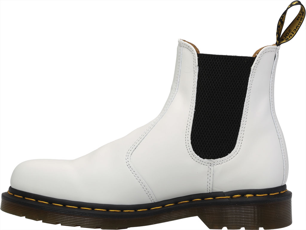 Dr. Martens 2976 Yellow Stitch Chelsea Boot, White Smooth Leather, large, image 3