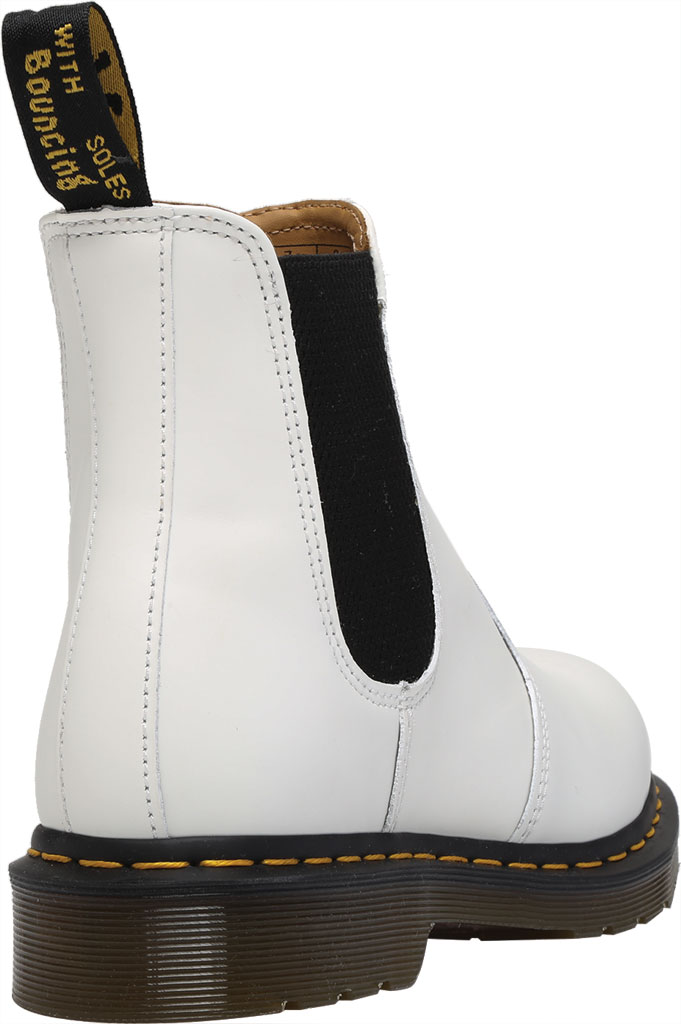 Dr. Martens 2976 Yellow Stitch Chelsea Boot, White Smooth Leather, large, image 4