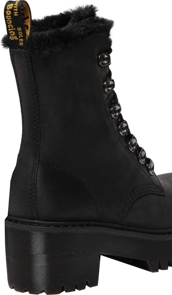 Women's Dr. Martens Leona Fur-Lined Heeled Lace-Up Boot, Black Maldova Leather/Milo Fur, large, image 3