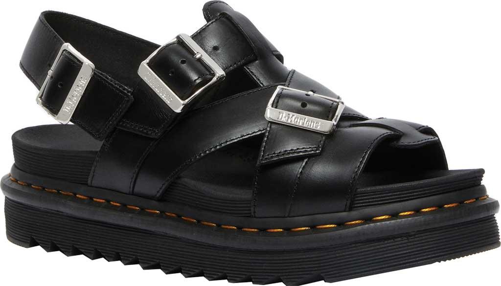 Dr. Martens Terry II Slingback Sandal, Black Brando Full Grain Waxy Leather, large, image 1