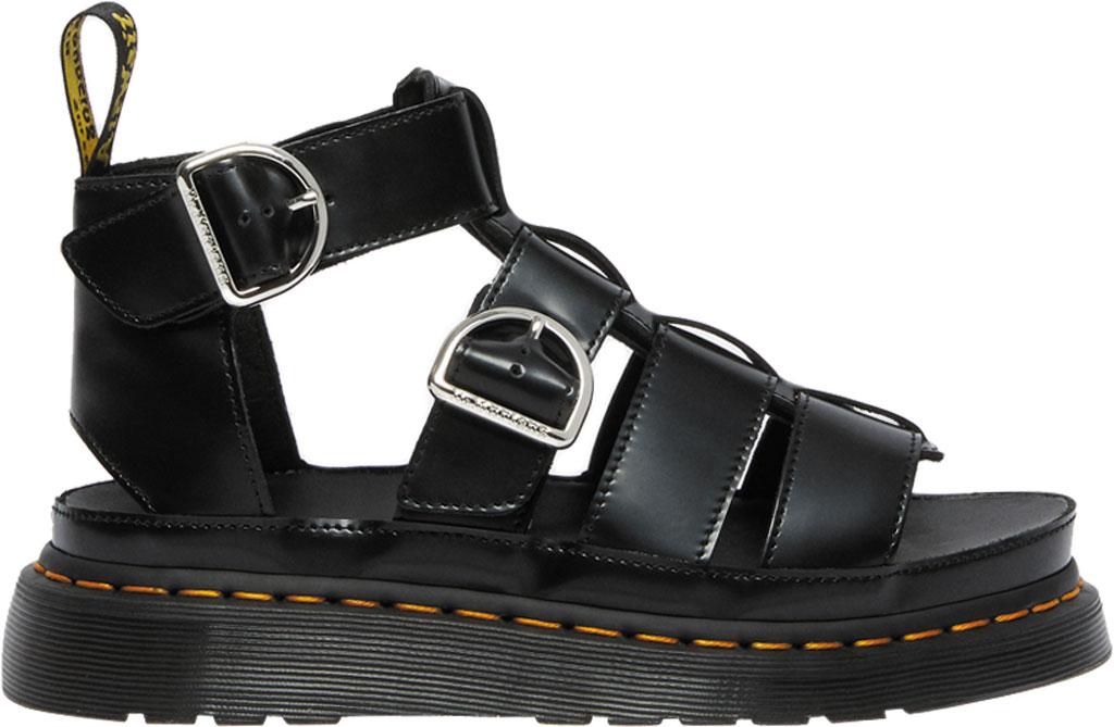 Women's Dr. Martens Mackaye Sandal, Black Buttero Full Grain Satin Gloss Leather, large, image 2