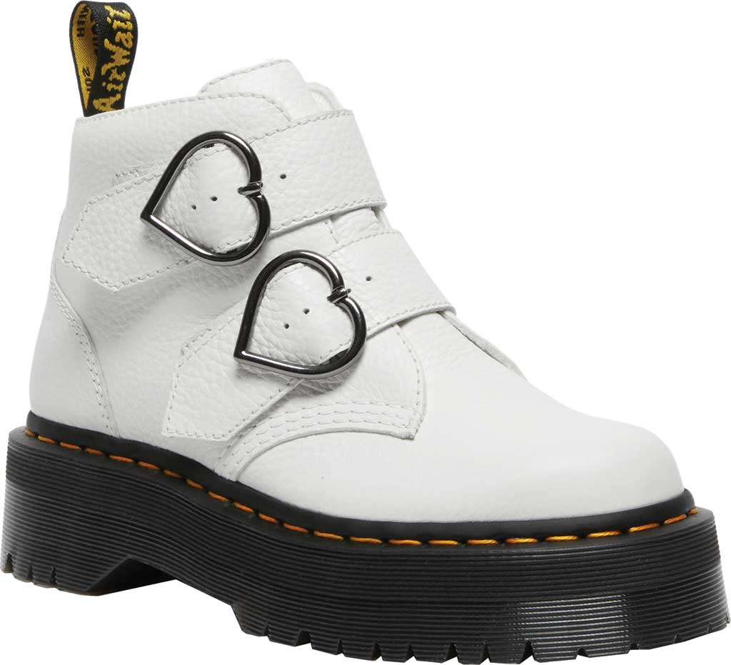 Women's Dr. Martens Devon Heart 2 Strap Boot, White Aunt Sally Tumbled Leather, large, image 1