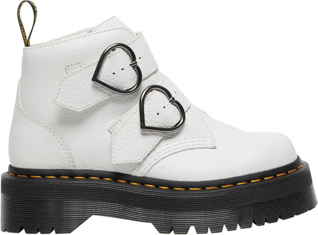 Women's Dr. Martens Devon Heart 2 Strap Boot, White Aunt Sally Tumbled Leather, large, image 2
