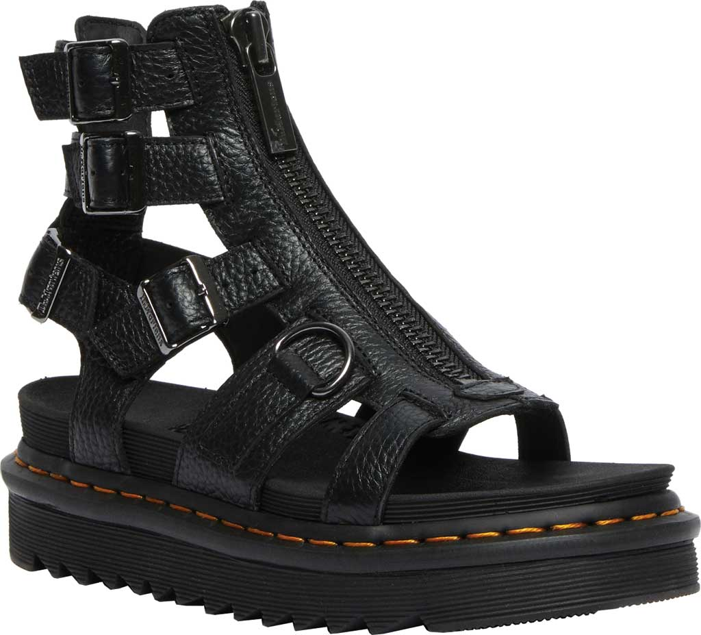 Women's Dr. Martens Olson Sandal, Black Aunt Sally Tumbled Leather, large, image 1