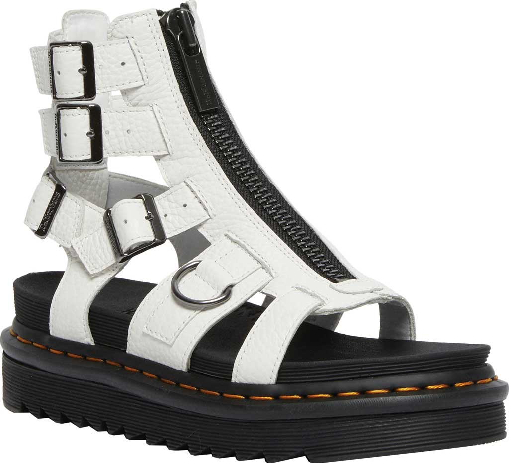 Women's Dr. Martens Olson Sandal, White Aunt Sally Tumbled Leather, large, image 1